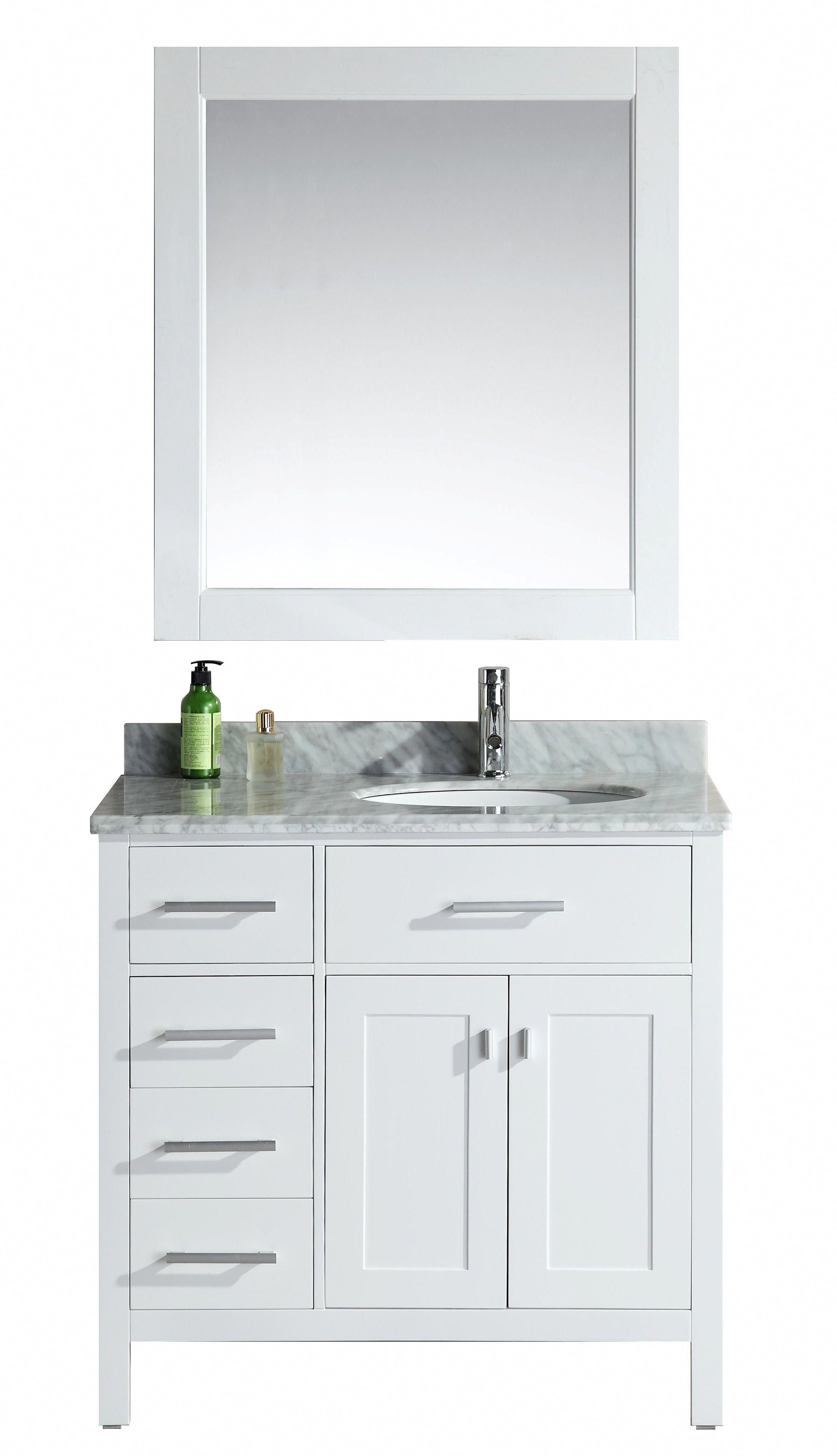 London 36 In Bathroom Vanity Set In White Finish With Drawers On