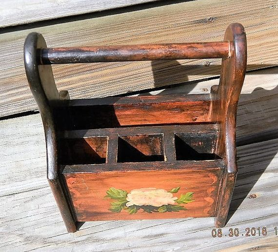 Wood Table Caddy Wood Utensil and Napkin Holder by APurpleClover