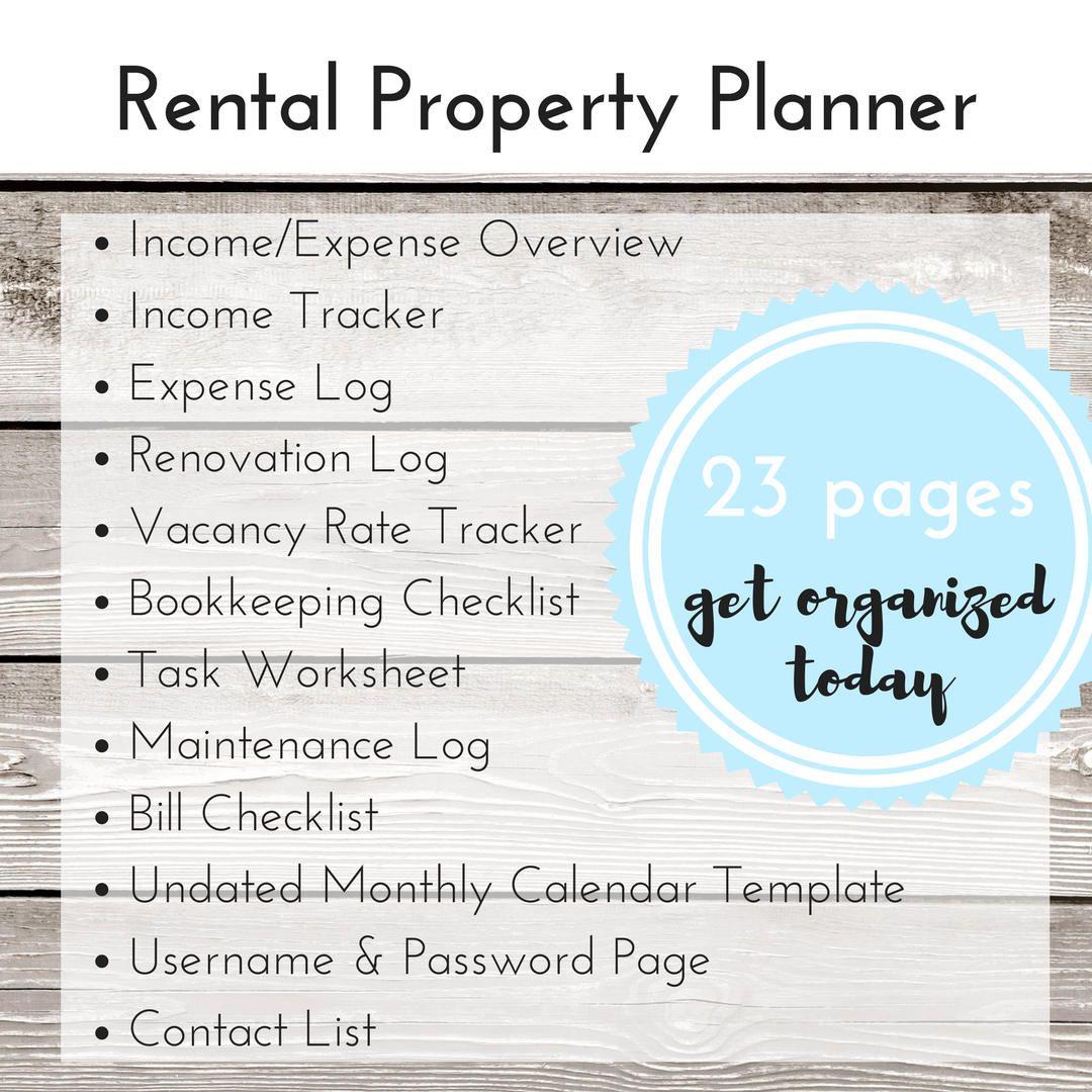 Rental Property Organizer AirBnB Printable Planner Air