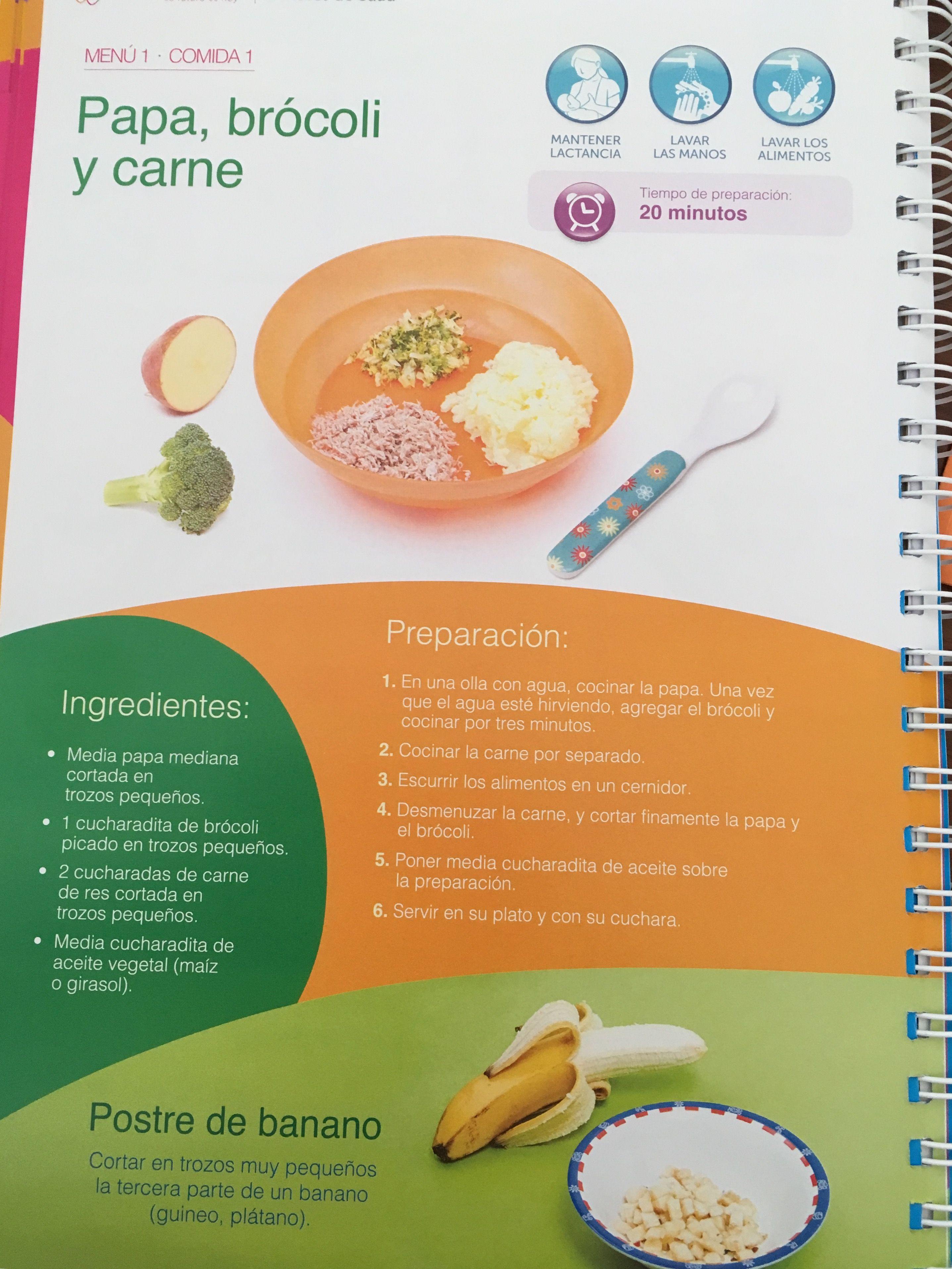 Menu De Papa Brocoli Y Carne De 9 A 11 Meses Recetas De Comida Para Bebes Comida Para Bebes Alimentacion Complementaria