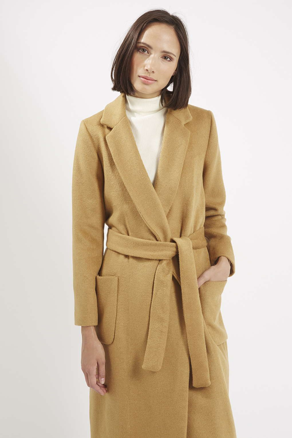 TALL Camel Slim Pocket Coat - Jackets & Coats - Clothing | Wool ...