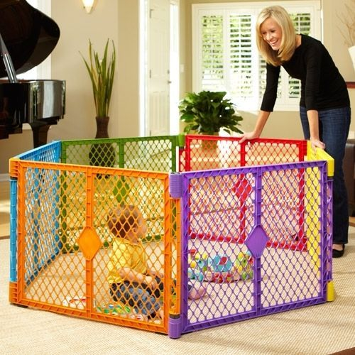 Portable Play Pen 6 Panel Yard Multi Colored Baby Outdoor Gate