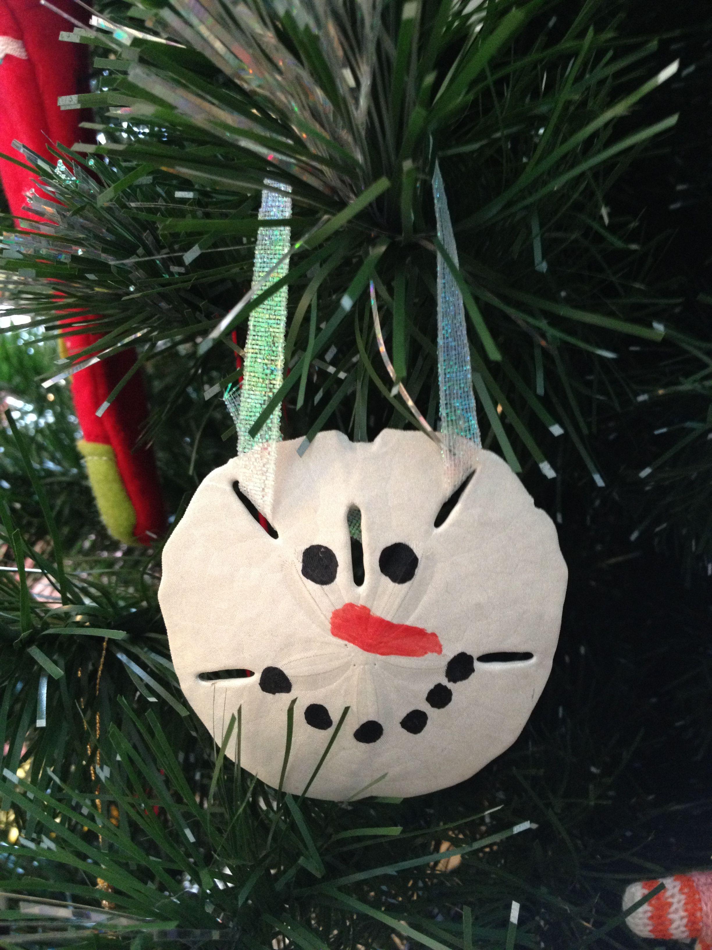 Sand dollar ornament - Snowman Sand Dollar Ornament