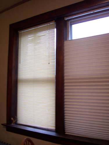 Repurpose Mini Blinds And Stick On Pleated Paper Shades