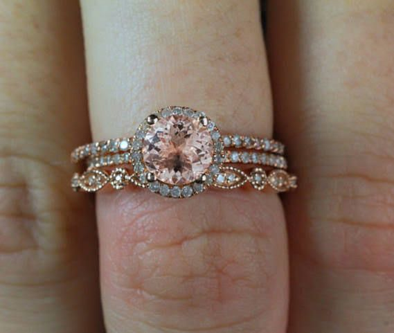 JeenMata Sale 2 Carat Antique Milgrain Round Morganite and Diamond