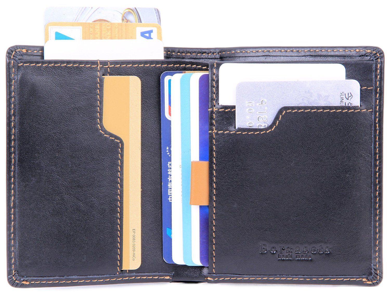 cce3f3554263 Borgasets Men's RFID Blocking Leather Multi Card High Capacity ...