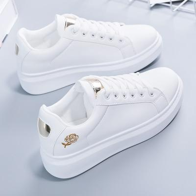 Hot Fashion Embroidered Breathable Flower Lace Up Women Sneakers White Shoes Women Casual Shoes Casual Shoes Women