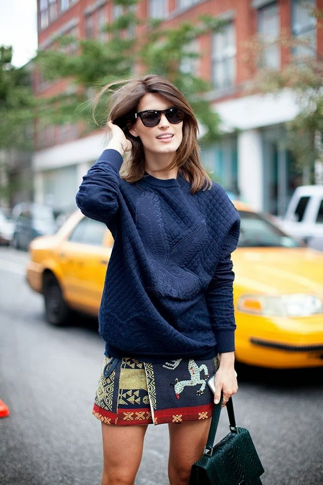 Blue sweater and mini print skirt #Fashiolista #Inspiration