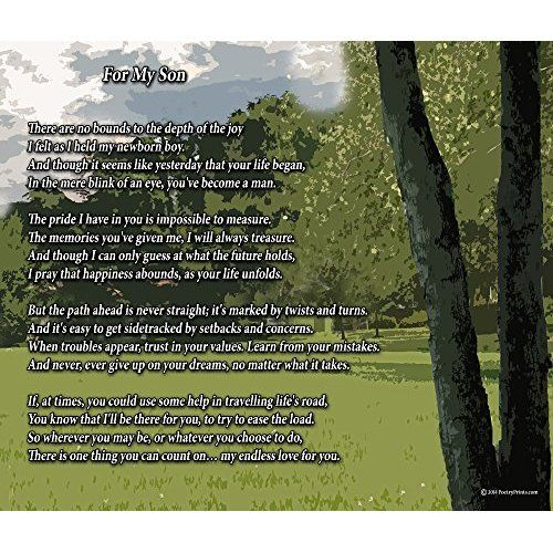 For My Son, #51, A Touching 8x10 Poem, Double-matted Navy