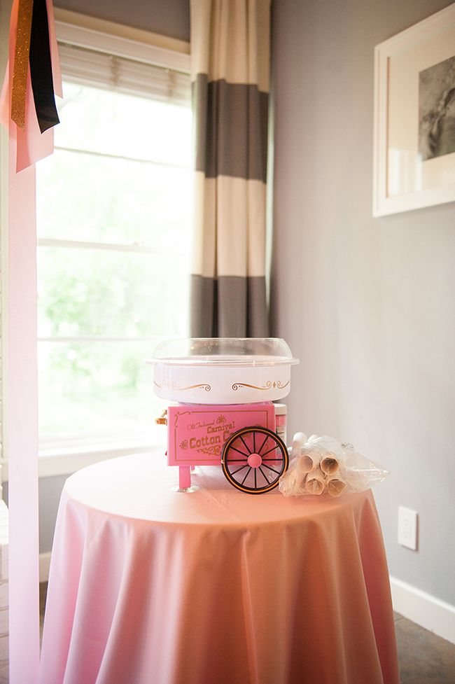 A make-your-own cotton candy stand! HOW CUTE!! The cotton candy maker is from Amazon - click through for link!