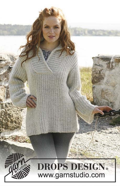 "Knitted DROPS jumper for women with shawl collar in ""Alpaca"" and ..."