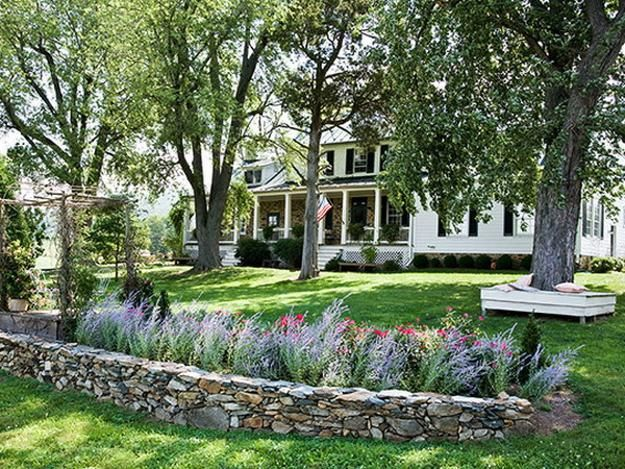 Flowerbeds Natural Stone | ... And Backyard Landscaping Ideas In Natural  And Eco Friendly