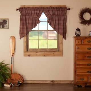 Red Rustic Kitchen Curtains Vhc Parker Prairie Swag Pair Rod