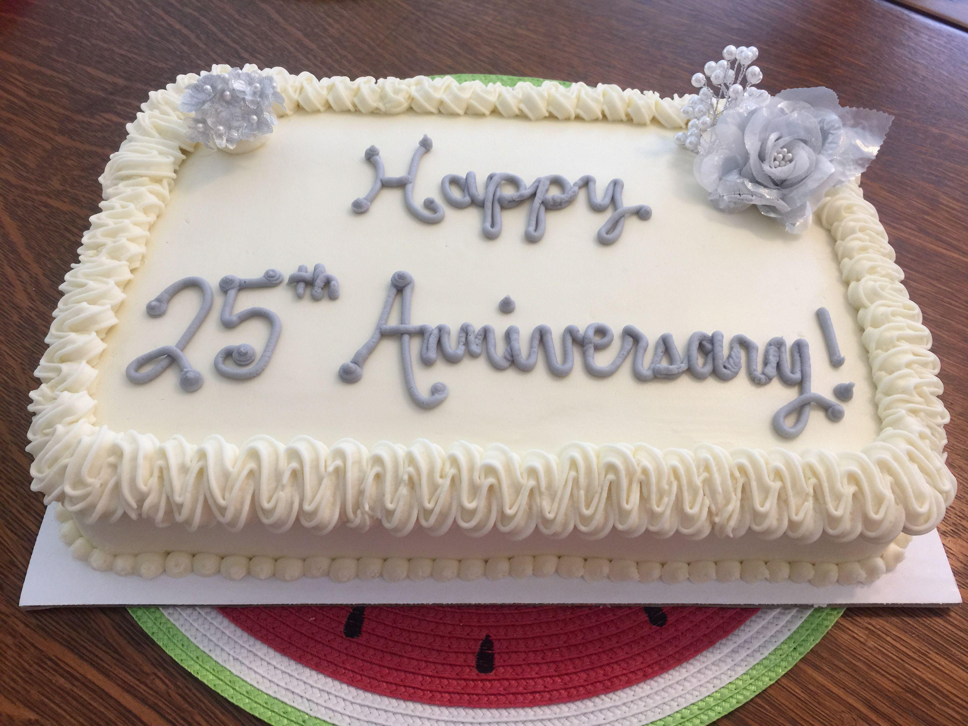 Happy 25th Anniversary 1 4 Sheet Chocolate Cake With Buttercream