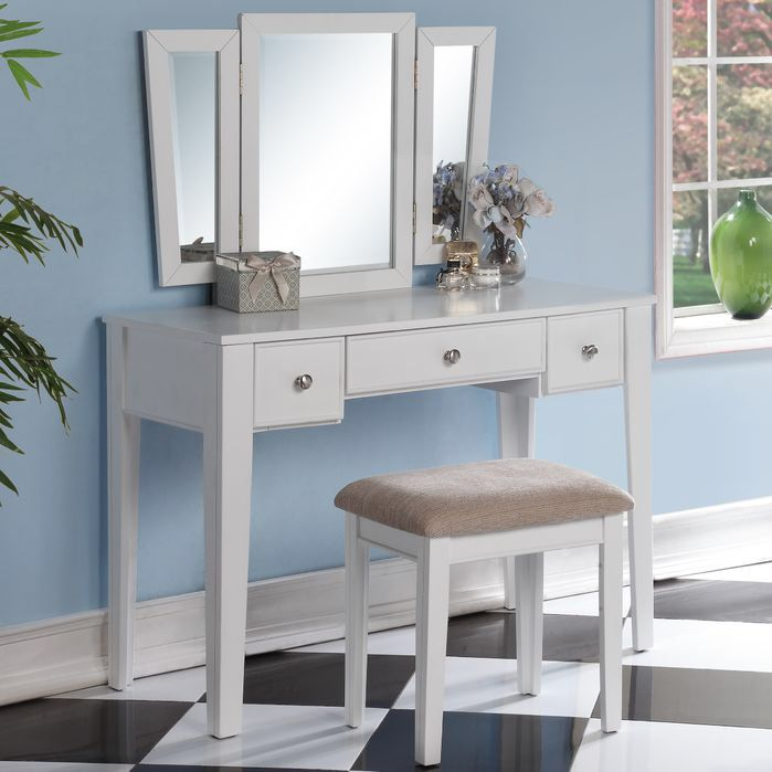 Features -Tri-fold mirror vanity table with stool set -Two small