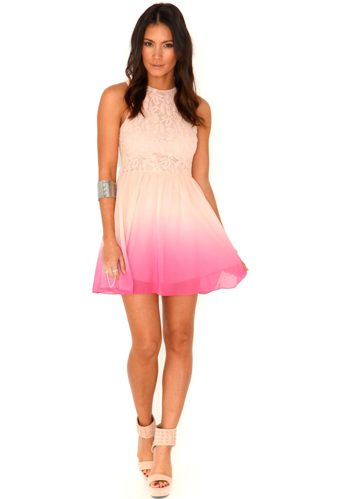 Damitta floral lace ombre skater dress in pink women