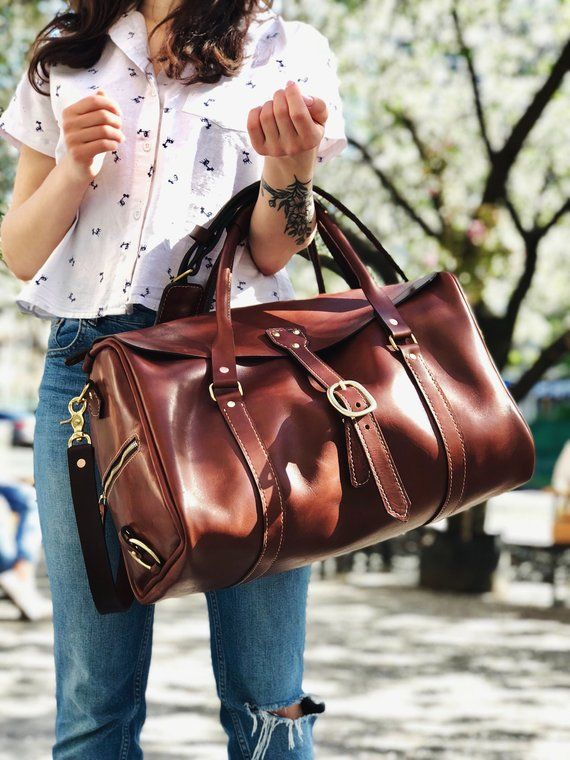 Mid size leather duffel,weekender bag, leather car