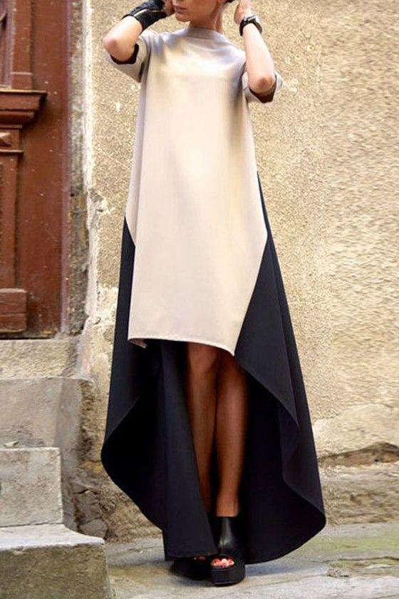 Beige Patchwork Zipper Irregular High Neck Elegant Maxi Dress - Maxi Dresses - Dresses