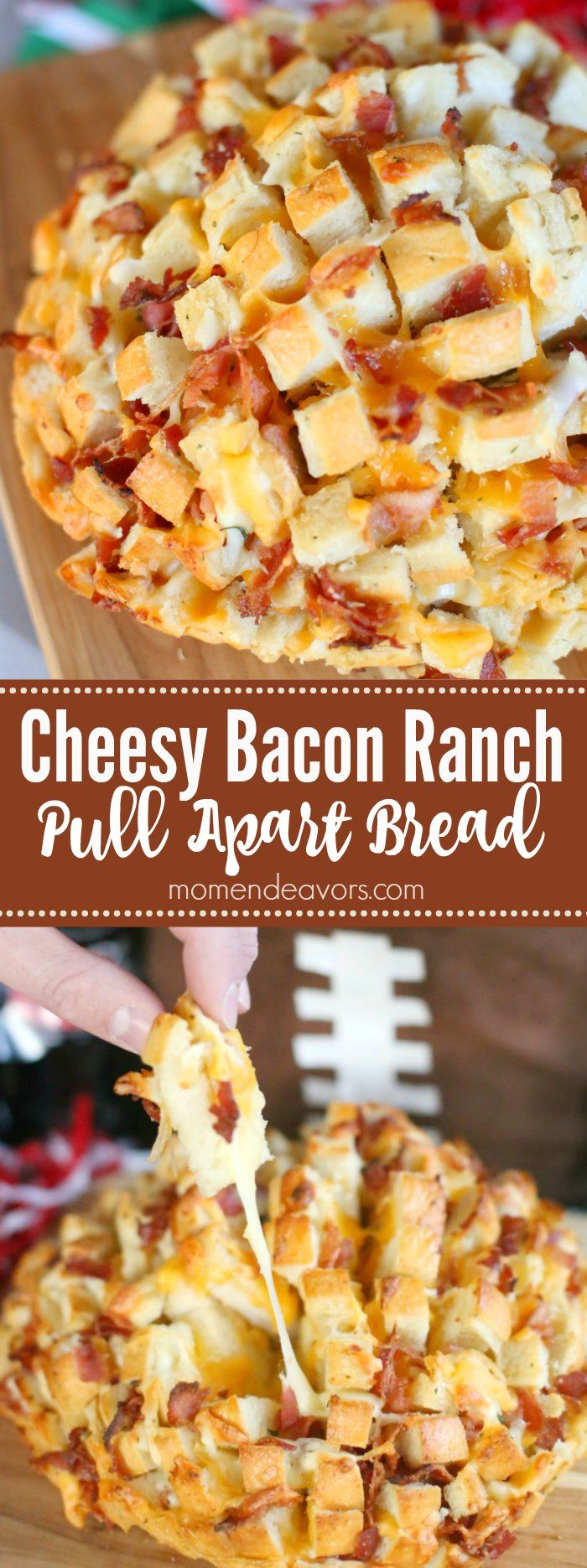 Cheesy Bacon Ranch Pull Apart Bread - a delicious, easy-to-make appetizer perfect for parties or football food!  #ServeWithACoke #BowlGames AD #footballfood