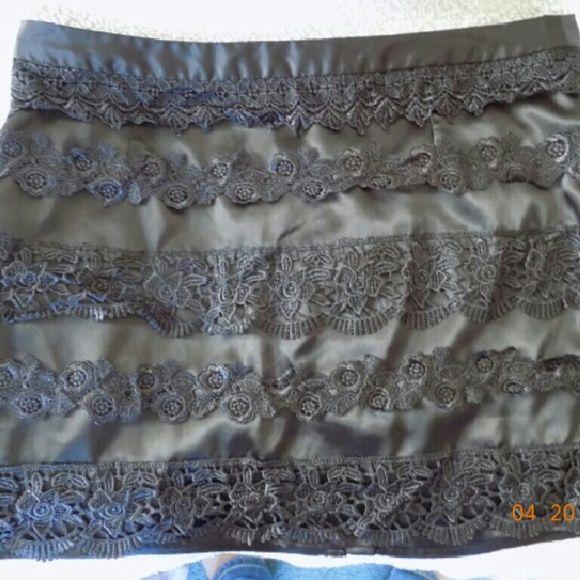 Mini skirt Black satin-like mini skirt  Lace detail Full zipper with hook closure Worn once Forever 21 Skirts