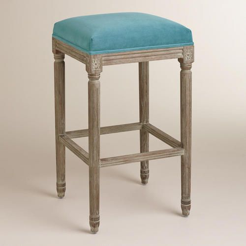 Peacock Paige Backless Barstool Blue Fabric