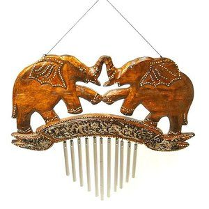 Door chime wind chime window chime wooden elephant silver steel pipe sound instrument interior Asian Bali Thai …