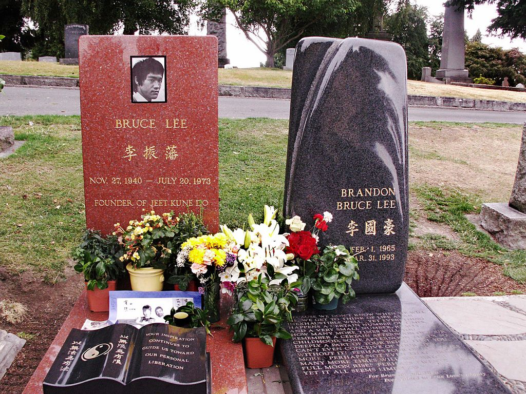 Bruce Lee's grave and Brandon Lee's grave. Bruce was the father of Brandon.