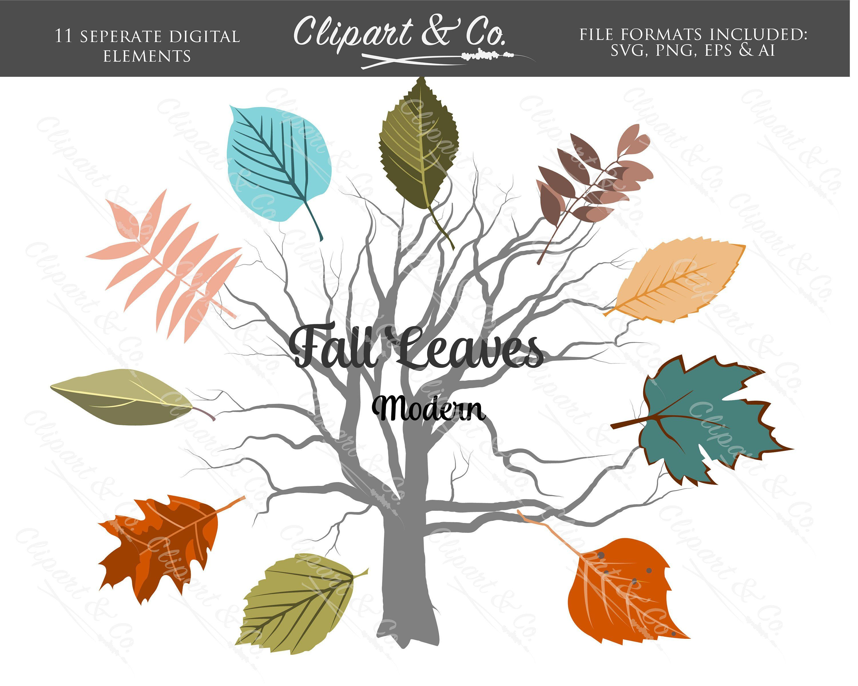 Fall leaves modern. Clip art commercial use
