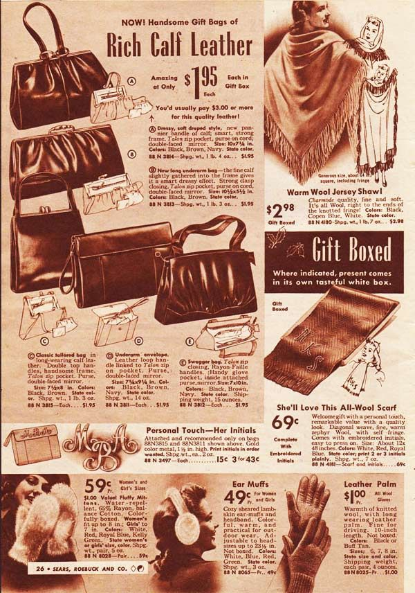 1940s Handsome Bags Of Rich Calf Leather From Sears Roebuck