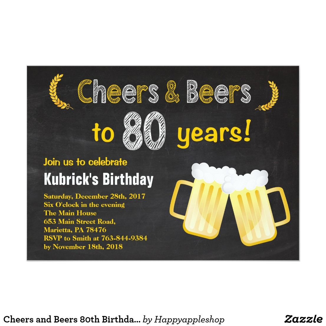 Cheers and Beers 80th Birthday Invitation