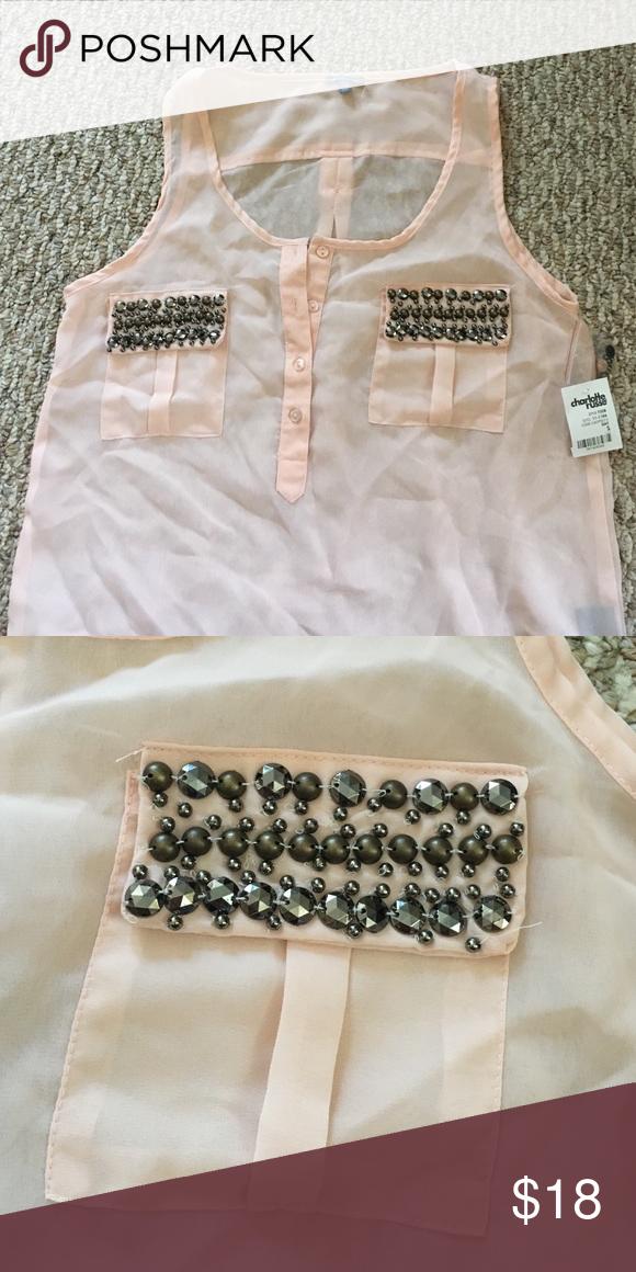 Light pink charlotte russe tank blouse Super cute and light Charlotte Russe Tops Tank Tops