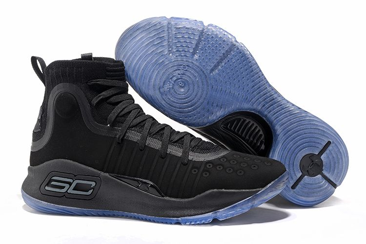 c78be2230220 2017 Under Armour Curry 4 All Black Ice Blue Sole For Sale ...