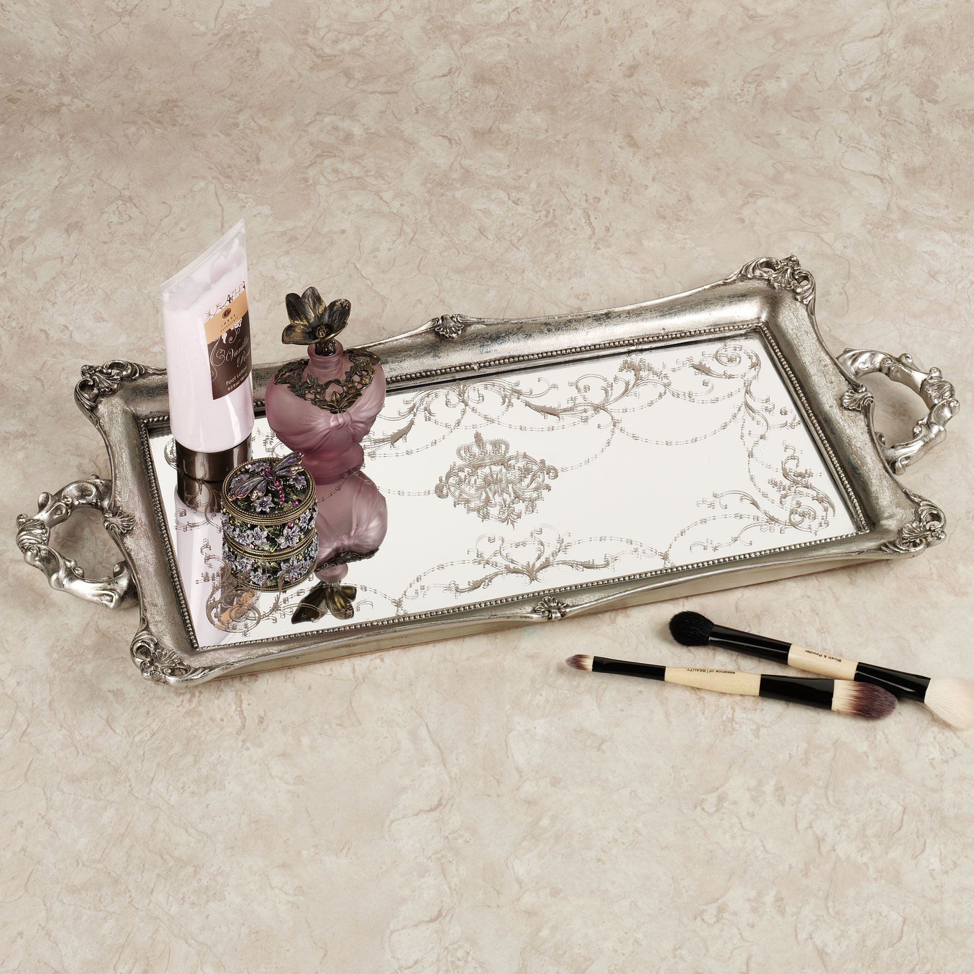 vanity trays home letitia silver finish mirrored vanity tray - Bathroom Accessories Vanity Tray