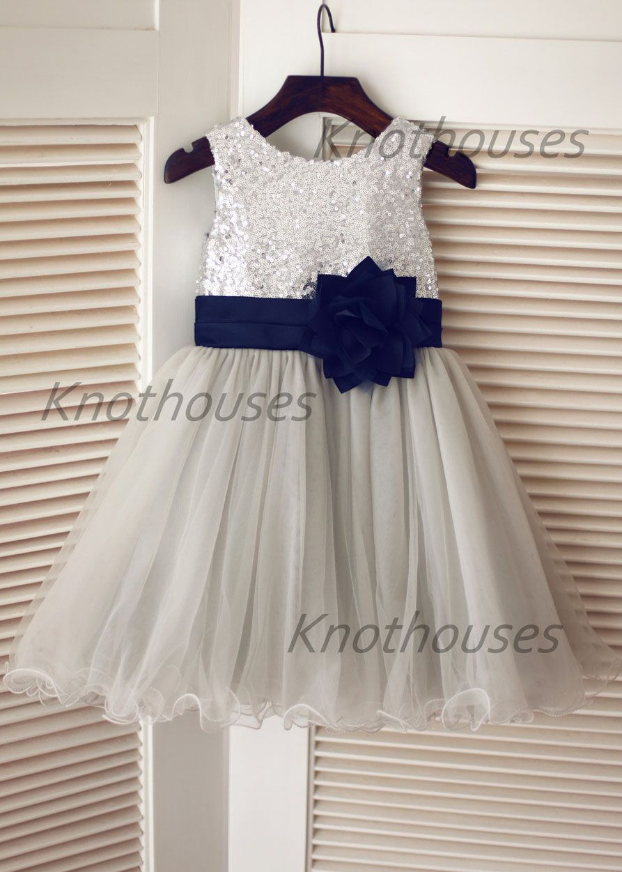 Silver Sequin Gray Tulle Curly Hem Knee Length Flower Girl Dress
