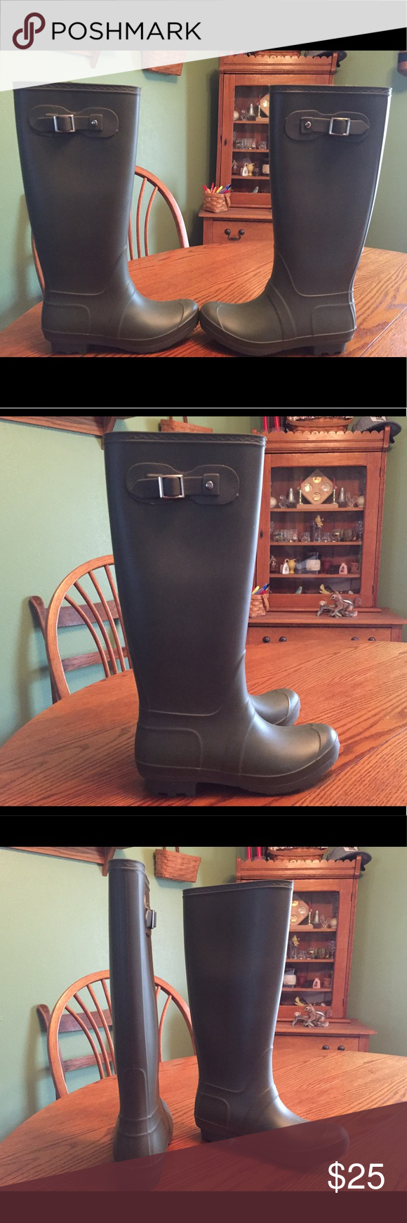 Women's army green rain boots Perfect condition, never worn! Shoes Winter & Rain Boots