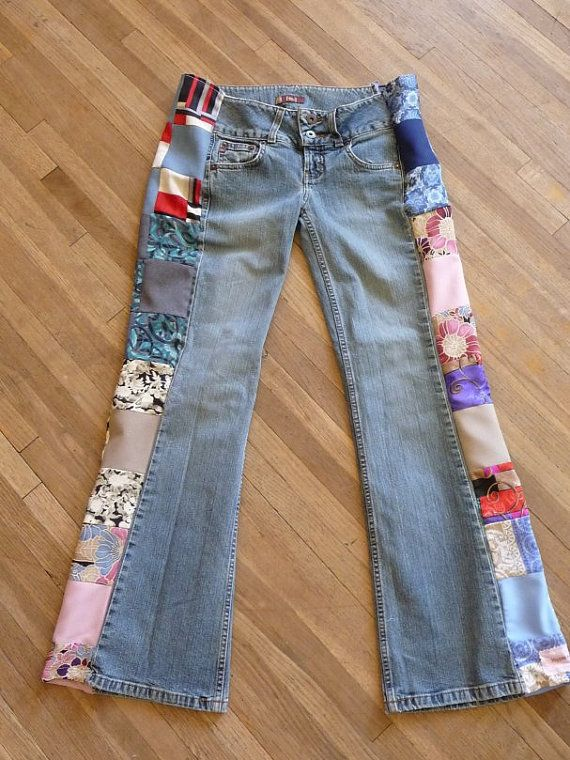 Patchwork Jeans, Handmade Pants, Unique Clothing, Recycled ...