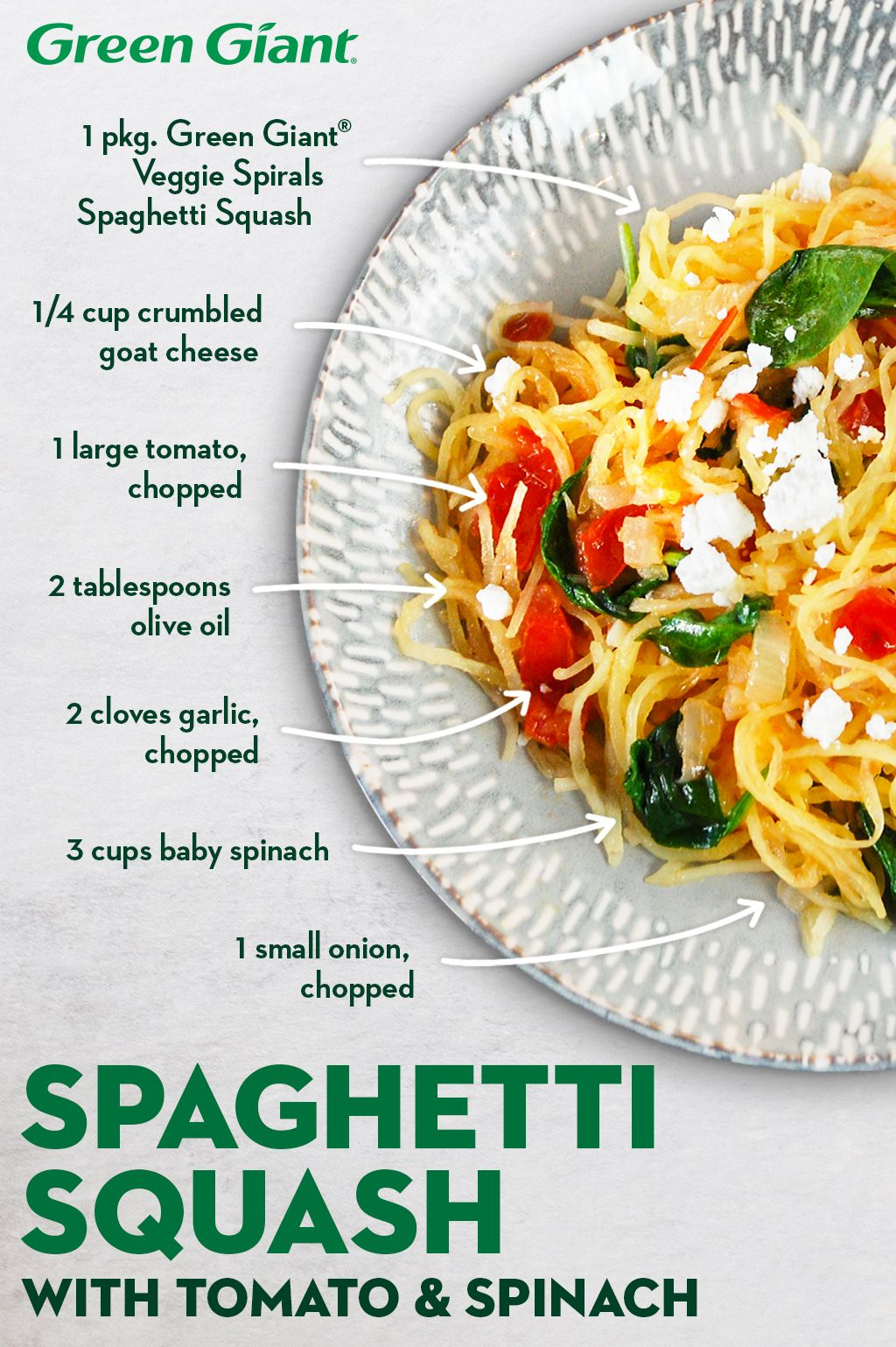 Spaghetti Squash With Tomato Spinach And Goat Cheese Recipe Green Giant Recipe In 2020 Veggie Dishes Vegetarian Dishes Recipes