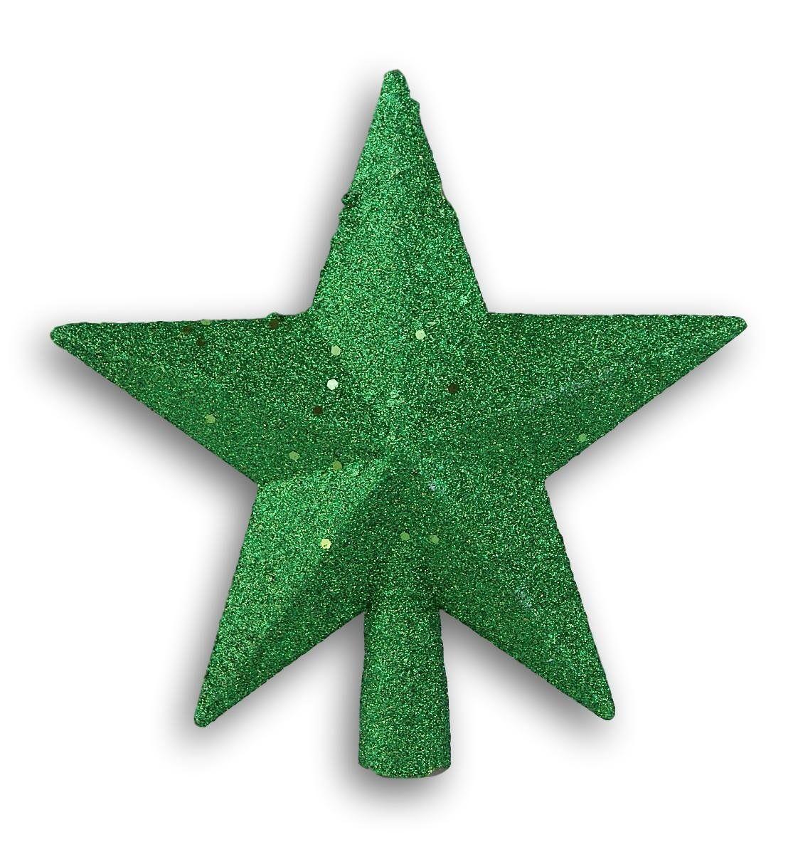 Green Glitter 5 Point Star Tree Topper
