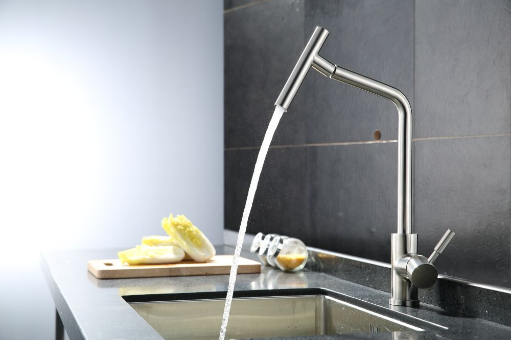 Brushed Nickel Kitchen Faucet Modern Kitchen Mixer Tap 304 Stainless Steel 360 Degree Rotation No Lead Torneira De Cozinha Brushed Nickel Kitchen Faucet Kitchen Fixtures Modern Kitchen Faucet