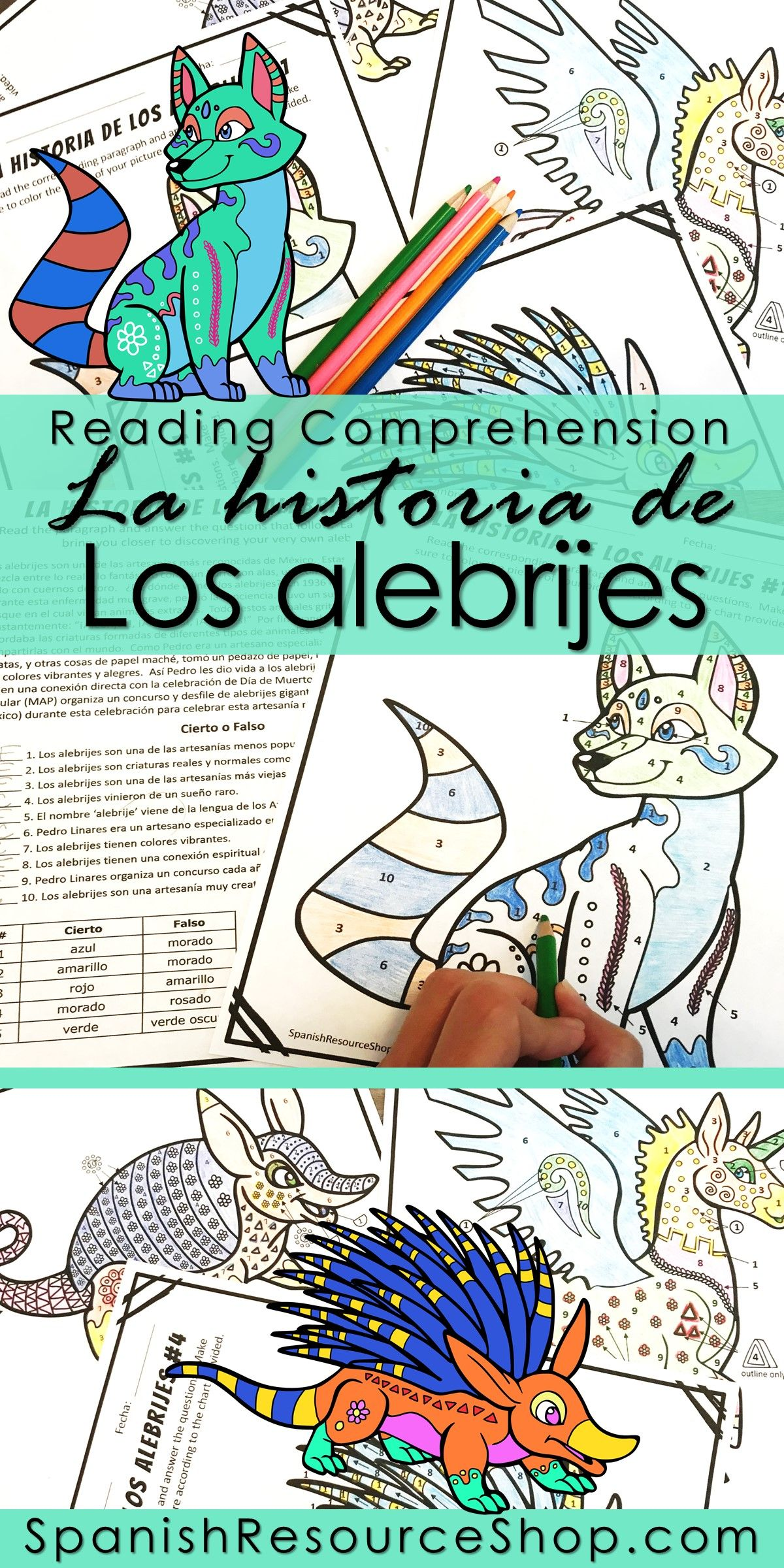 Spanish History of Los Alebrijes Reading Comprehension Coloring ...