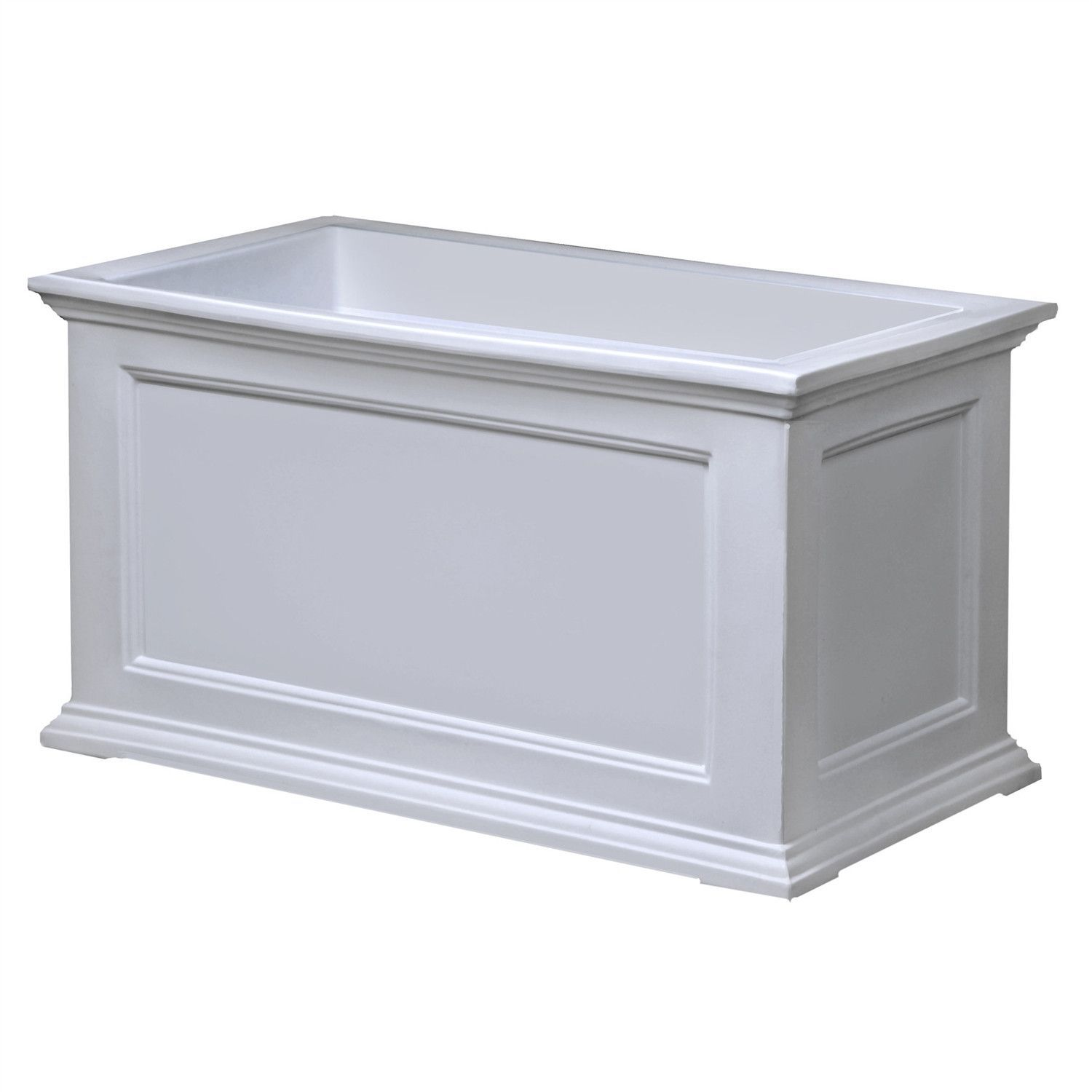 20 X 36 Inch Patio Planter In White   Made In USA