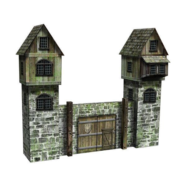 Medieval Walls Set Paper Model PSDs | Dave's Games ❤ liked on Polyvore featuring medieval, fillers, scenery, city and paisajes con casas