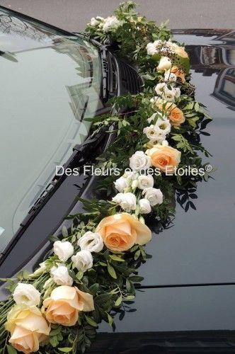 Decoration voiture mariage guirlance de fleurs bouquets - Decoration voiture mariage sans fleur ...
