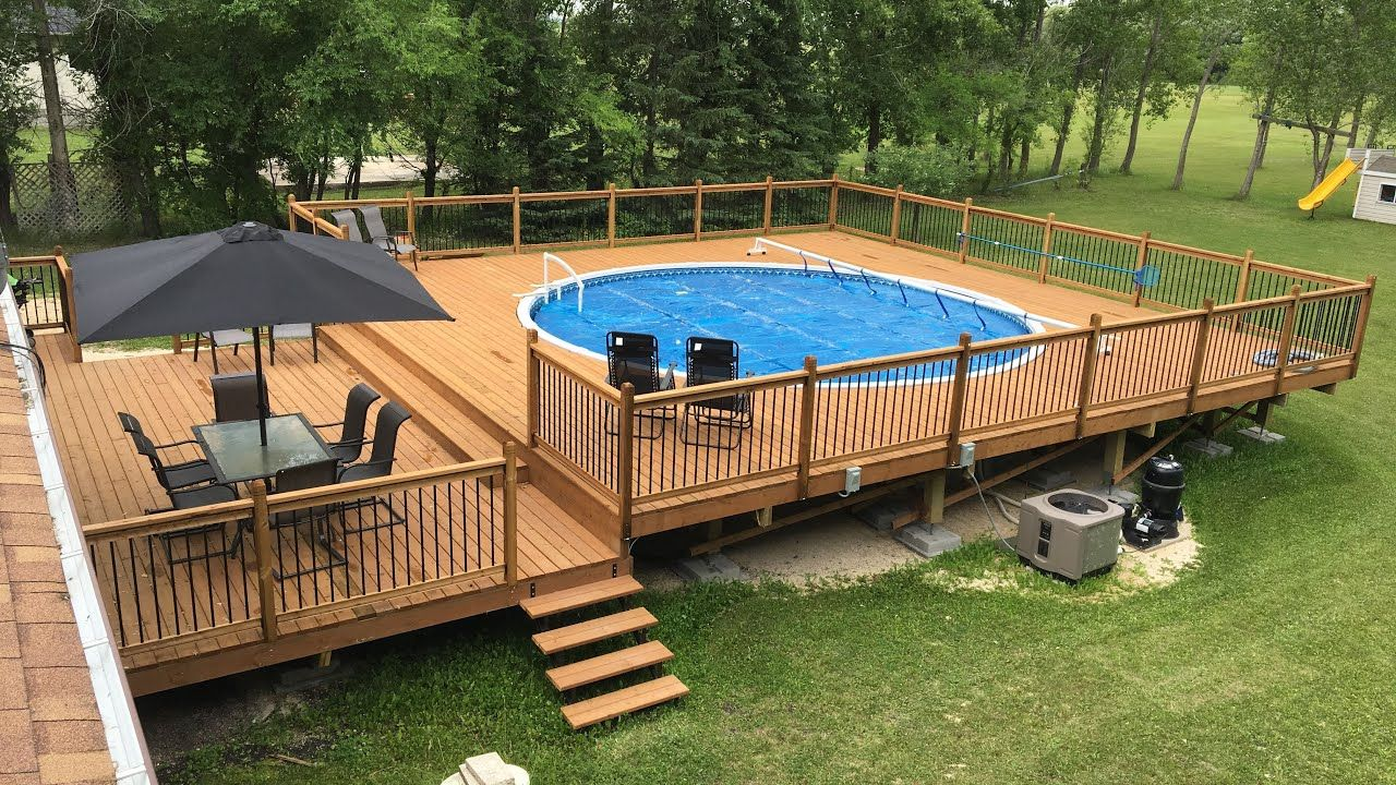 Pool Deck Project Youtube Process Above Ground Pool Landscaping Pool Deck Plans Best Above Ground Pool