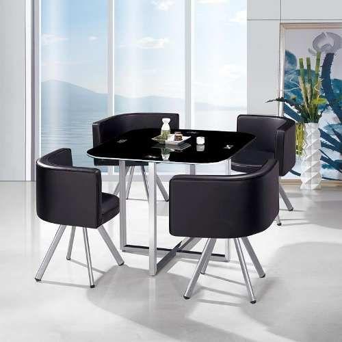 Juego de comedor mesa vidrio y 4 sillas tapizadas for Juego de comedor 4 sillas moderno