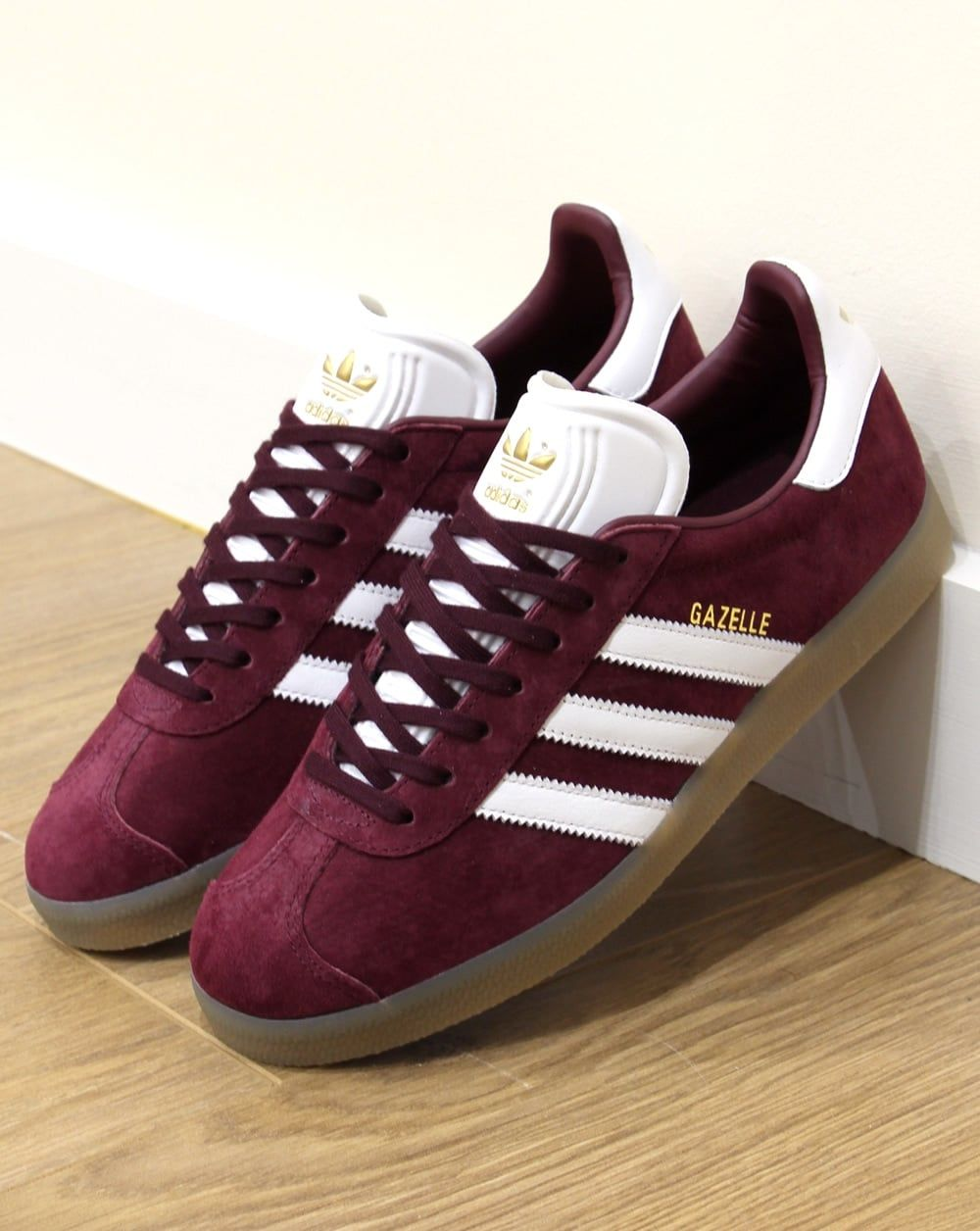 buy online be441 a5e7d Adidas Gazelle Trainers MaroonWhiteGum,suede originals,80s,90s