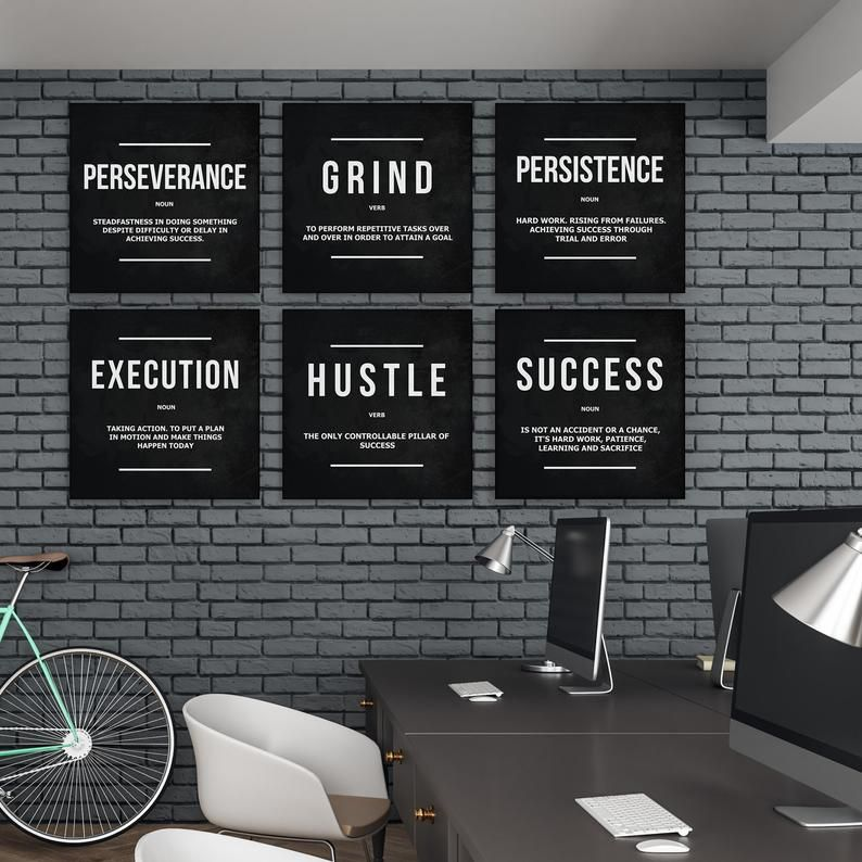 6 Pieces Office Decor Motivational Wall Art Canvas Prints Etsy In 2020 Motivational Wall Art Office Decor Workplace Design