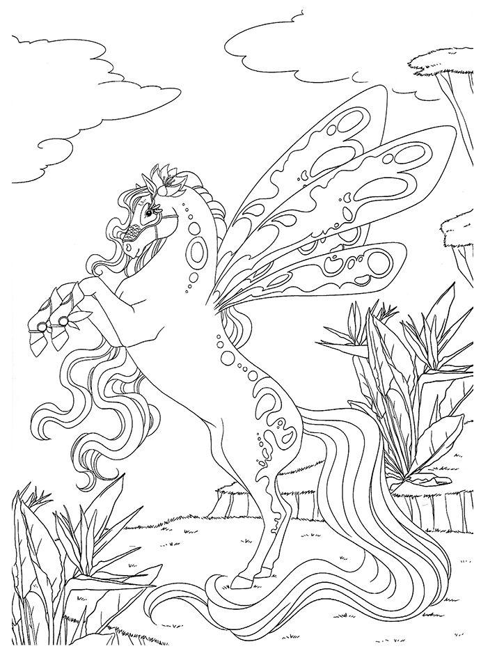 chevaux magiques papillon jpg 691 935 horse coloring pages