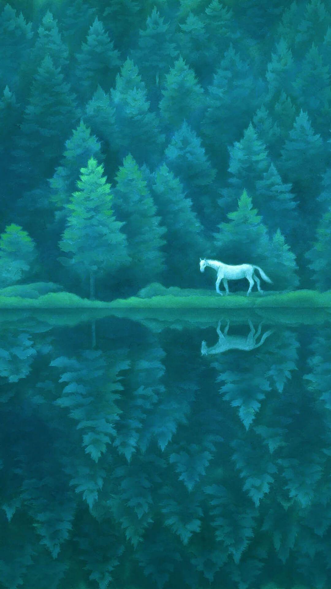 東山魁夷 Higashiyama Kaii 緑響く 1080x19 御射鹿池 日本画 風景デッサン