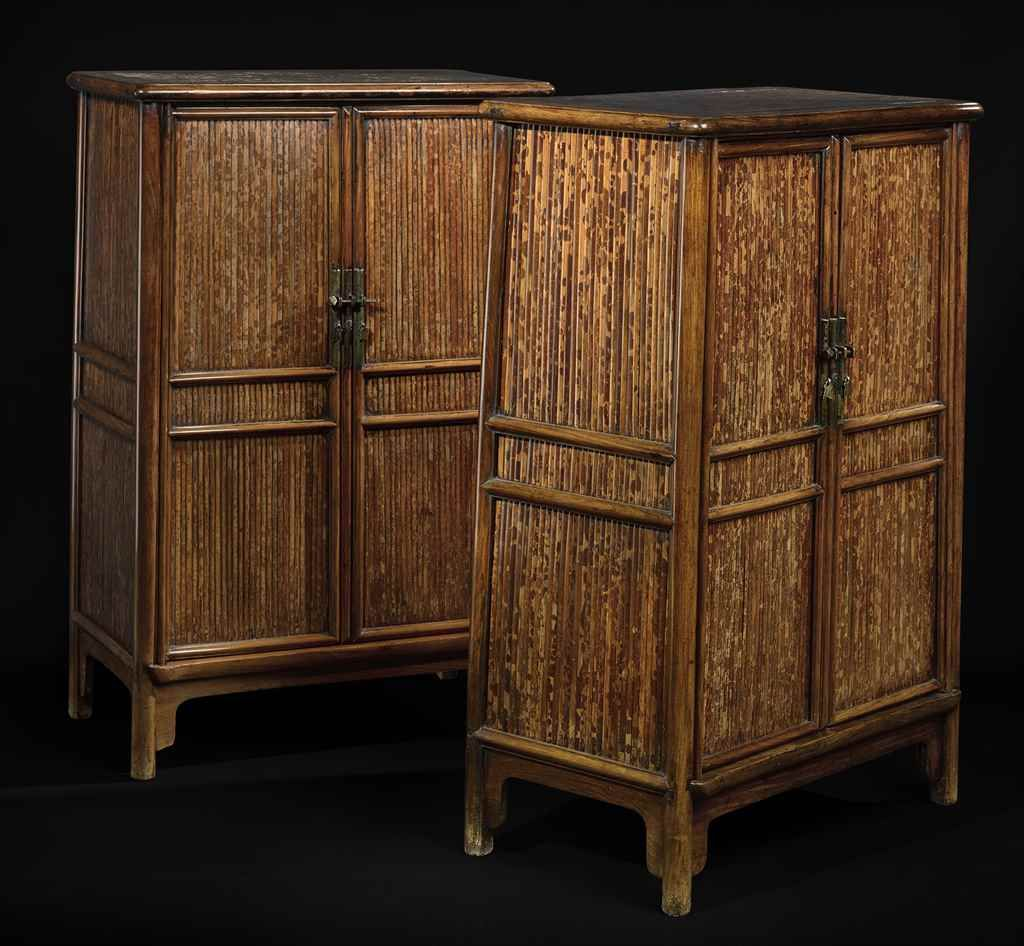 A rare pair of huanghuali and spotted bamboo scholar's cabinets, yuanjiaogui, 17th century